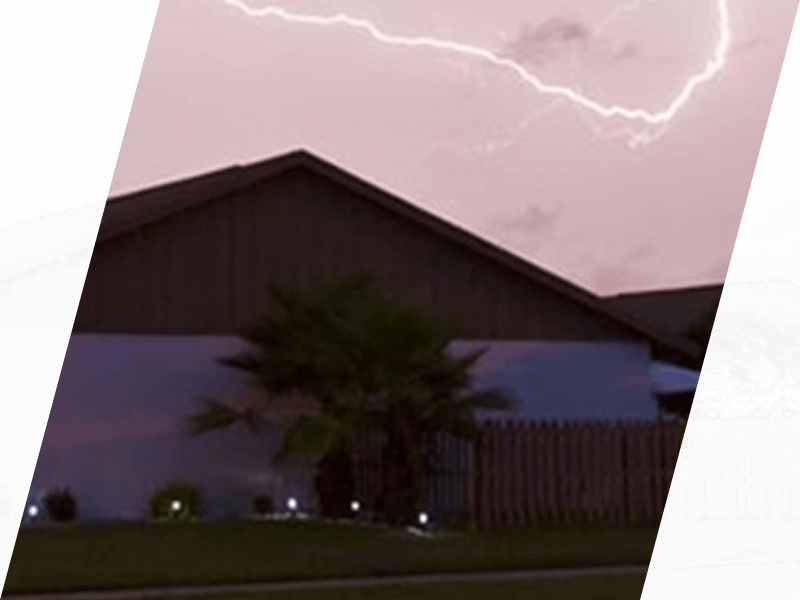 Lightning over a house